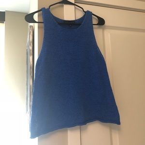 Sleeveless knit top, royal blue, size M